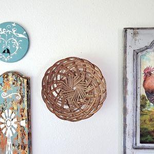 "10"" Rattan Bowl Basket Decor Farmhouse Boho"